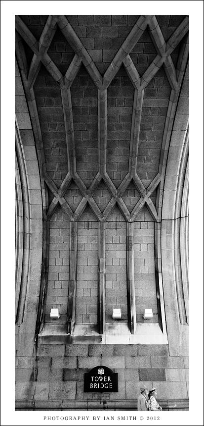 Inside an arch of Tower Bridge