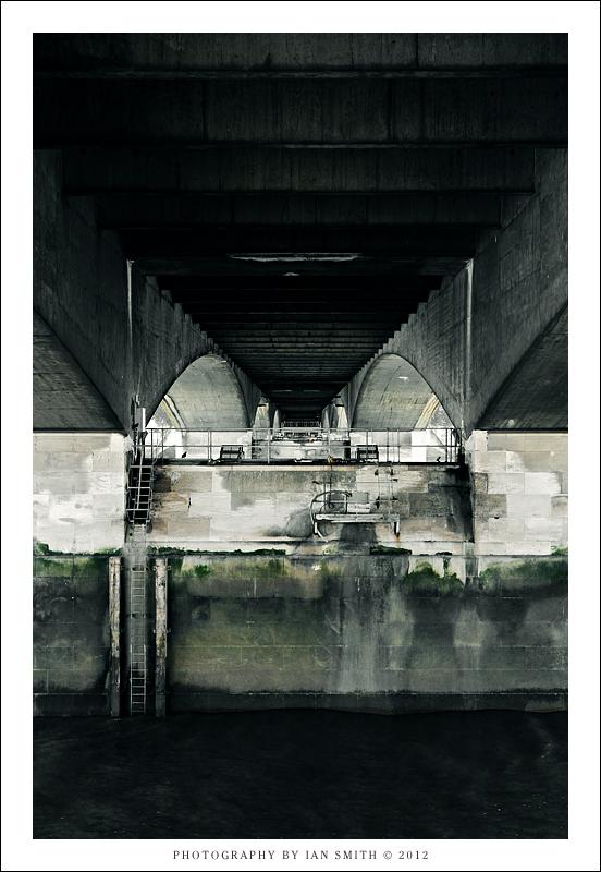 Beneath Waterloo Bridge, London