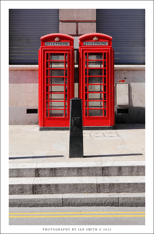 Twin telephone boxes in London