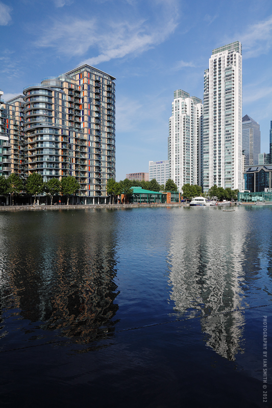 Modern buildings on the Isle of Dogs