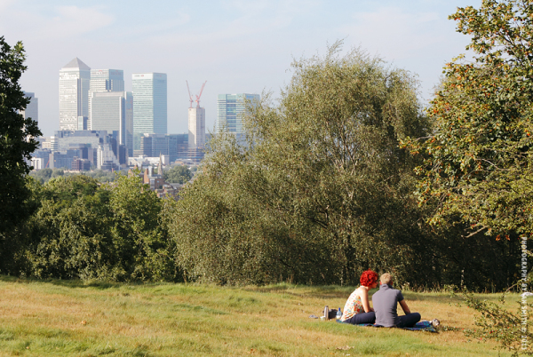 Young couple relaxing in Greenwich Park