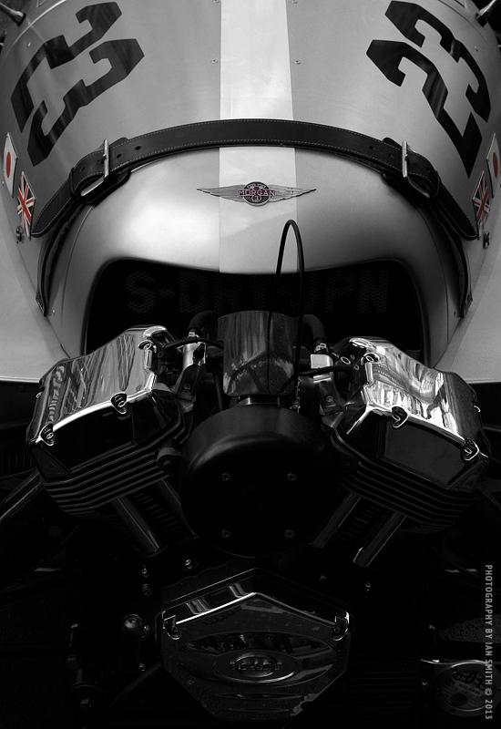 Front detail of Morgan 3 Wheeler car
