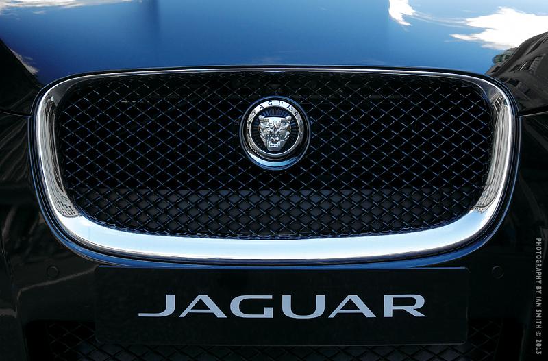 Front of a new Jaguar car.