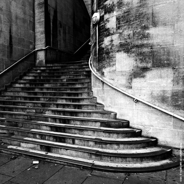 Steps up to Waterloo Bridge