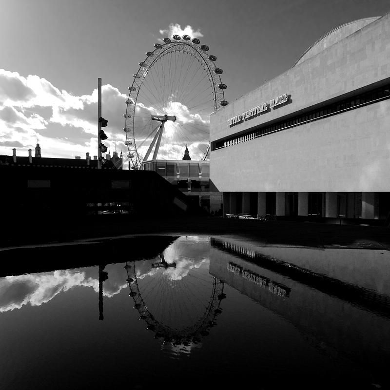 Puddle reflection on London's Southbank