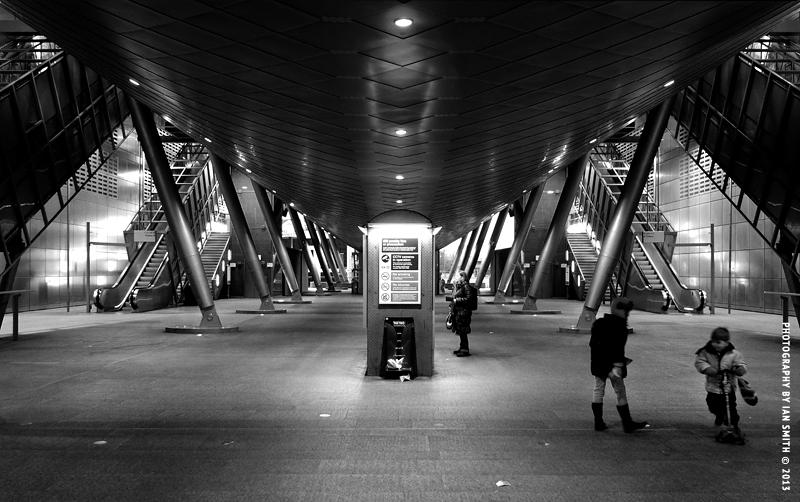 Beneath Canary Wharf DLR Station