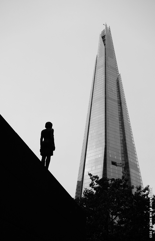 Sculpture observing the Shard, London