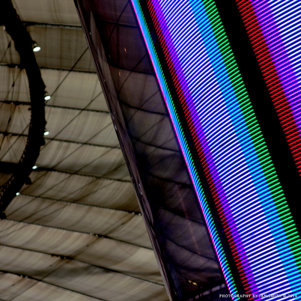 Spinning LED display at The O2, London