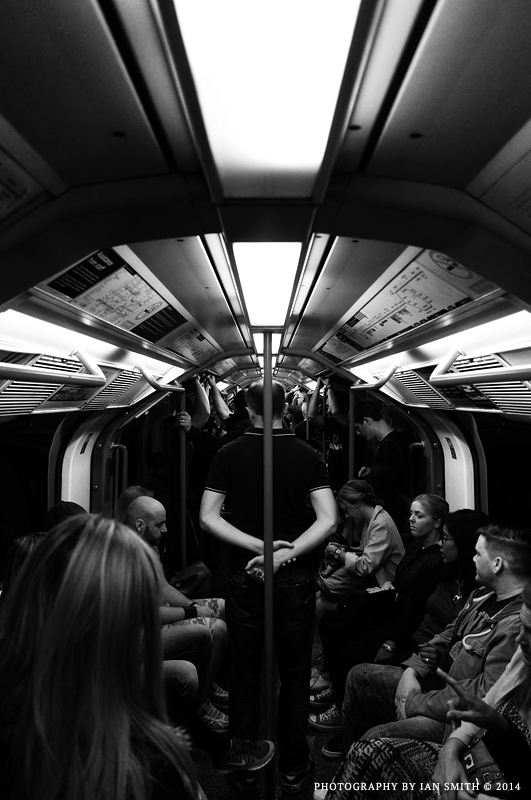 On a Central Line train in London