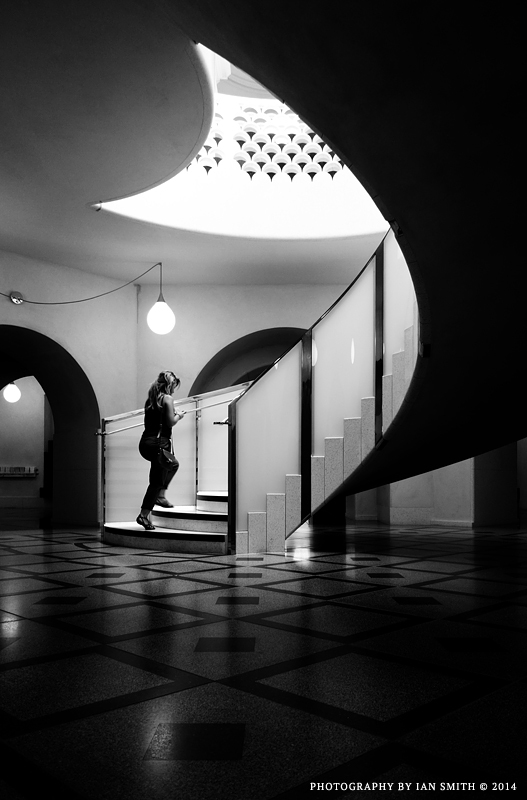 Woman ascends the stairs, Tate Britain