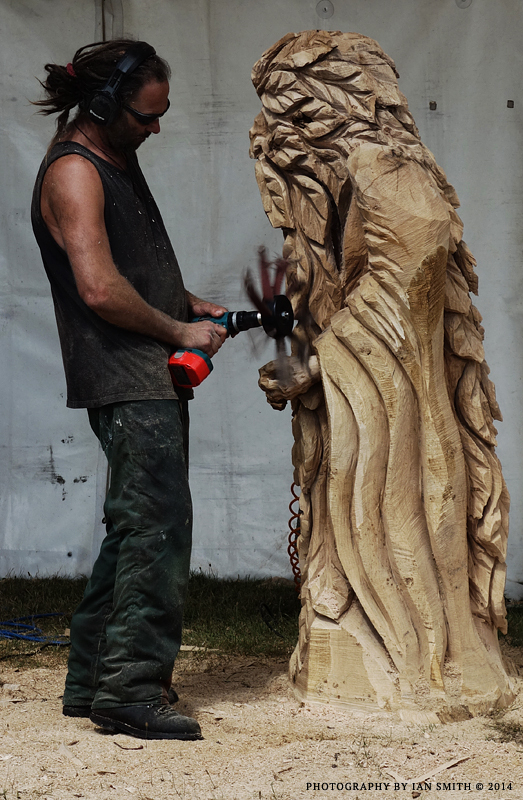 Wood sculptor at work at Sandringham, Norfolk