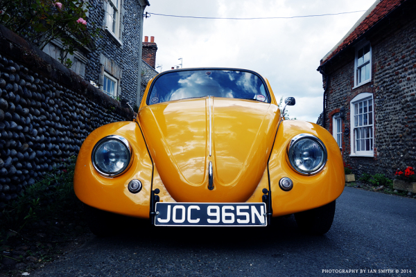 Yellow VW Beetle in Blakeney, Norfolk