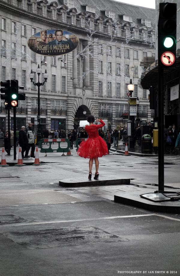 Woman in red dress on Regent Street, London
