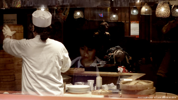 Reflections of a Chinese restaurant in London
