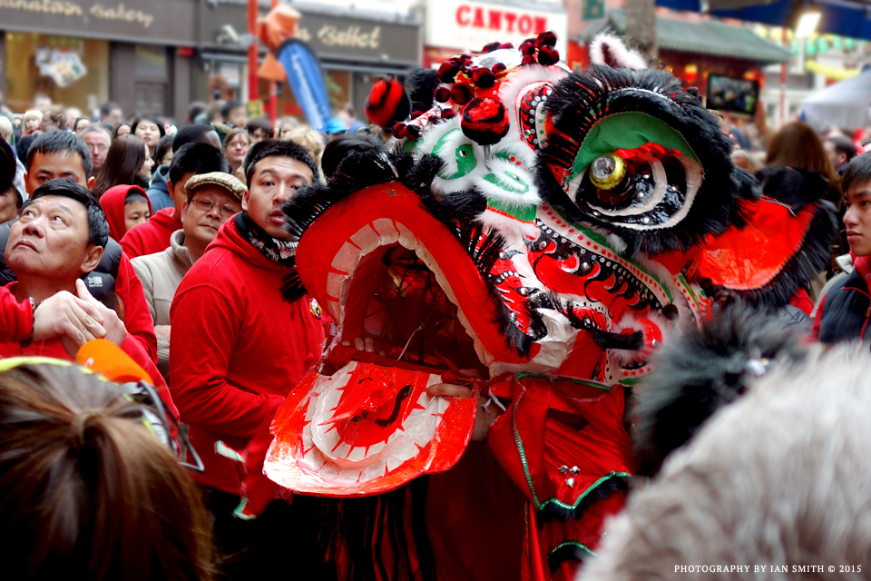 A lion dance in London Chinatown