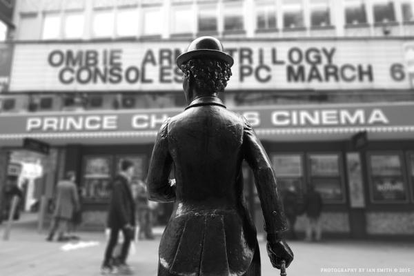 Charlie Chaplin outside Prince Charles Cinema