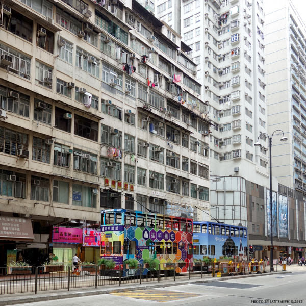 Colourful trams in North Point, Hong Kong