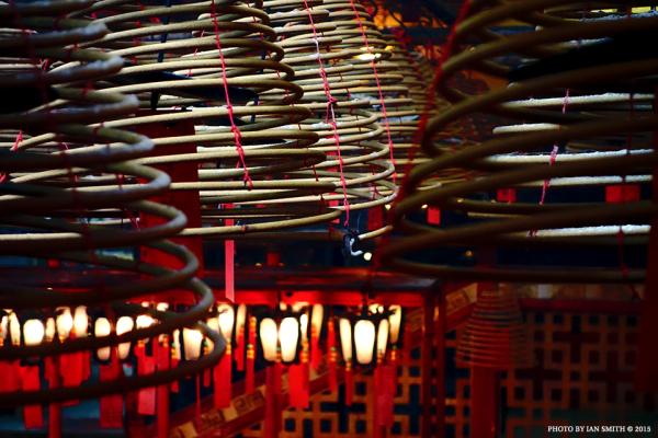 Incense and lanters in Man Mo Temple, Hong Kong