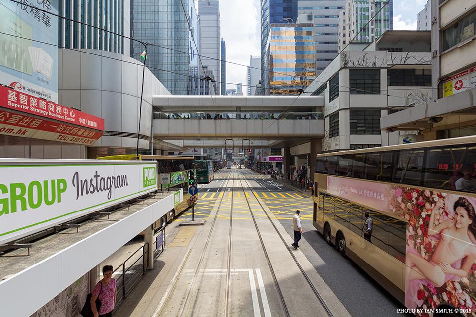 Riding a tram in Central, Hong Kong