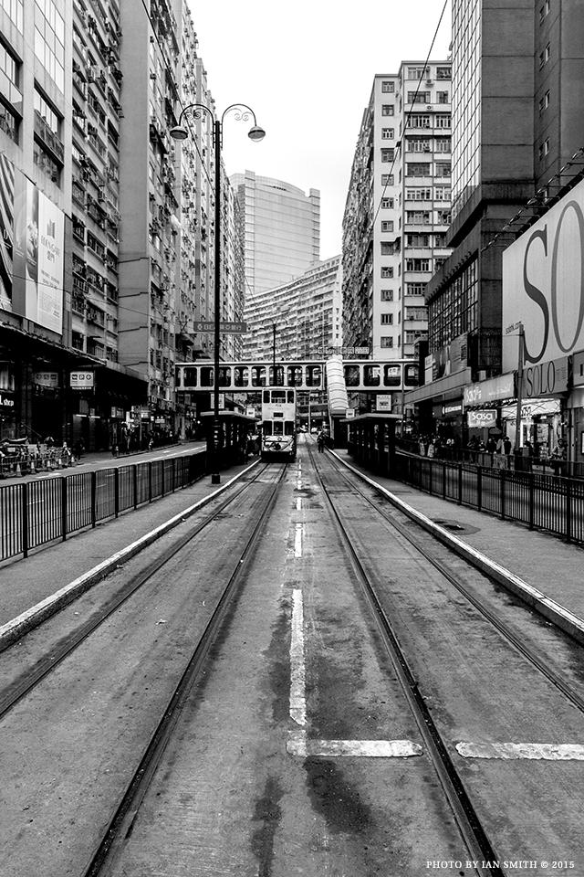 Tramlines on King's Road, Hong Kong