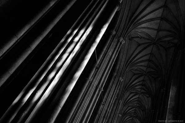 Light on the pillars at Canterbury Cathedral