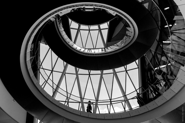 The helical staircase inside London's City Hall