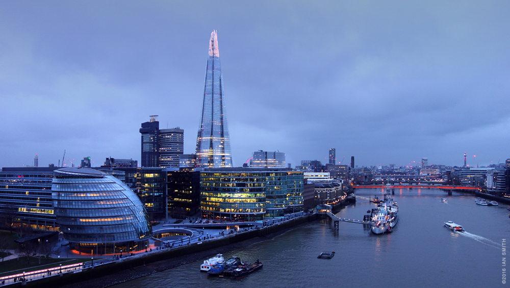 View from Tower Bridge at Dusk