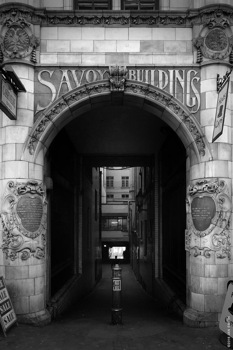 Savoy Buildings entrance from The Strand