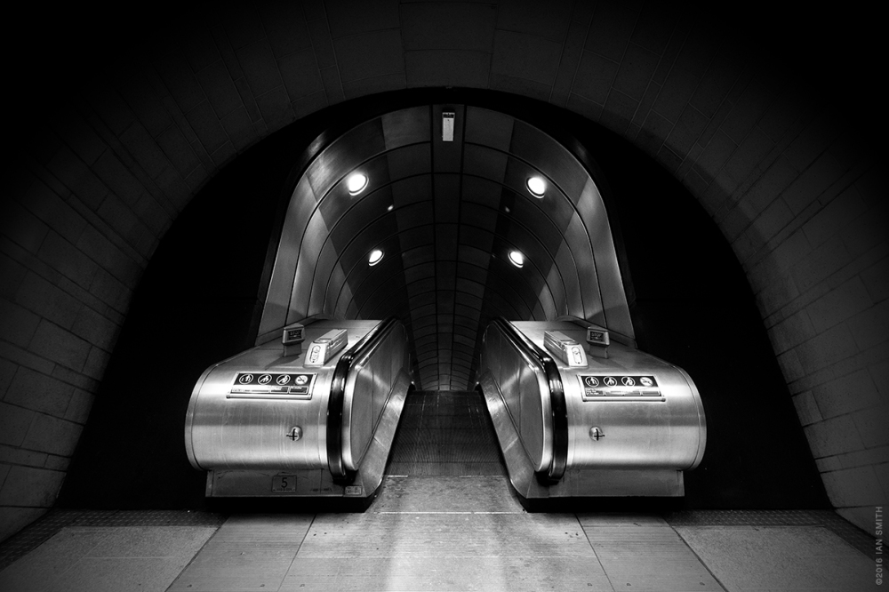 Inside Southwark Underground Station