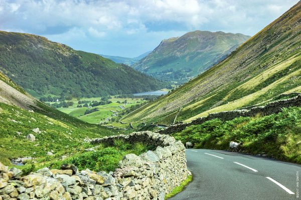 Heading down the Kirkstone Pass to Ullswater