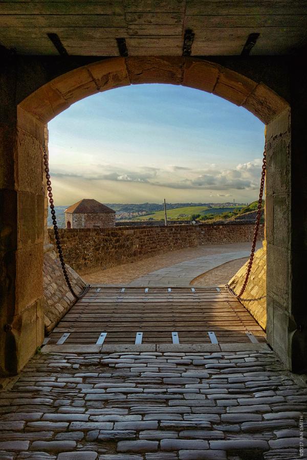 The sunlit drawbridge of Dover Castle