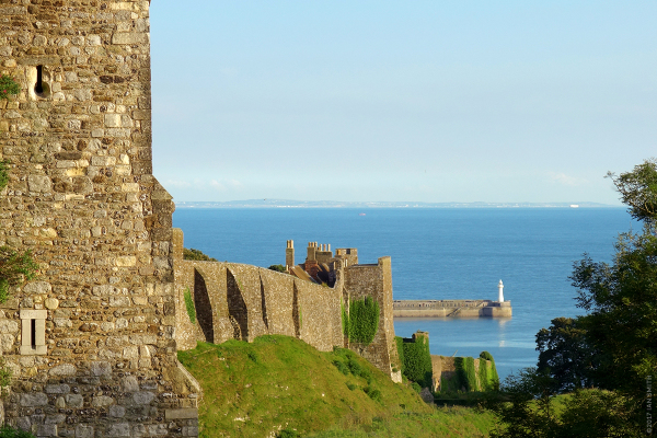 View of Dover Castle and Dover Port