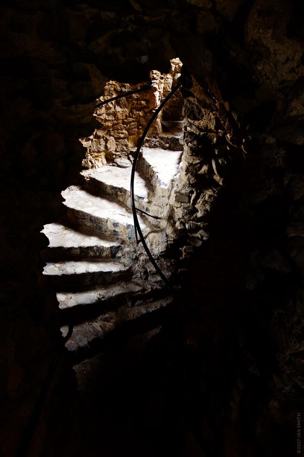 Stone stairwell inside Rochester Castle