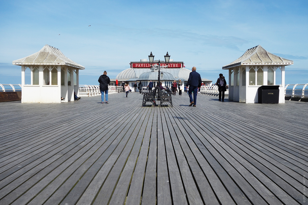 Walking along Cromer Pier, Norfolk