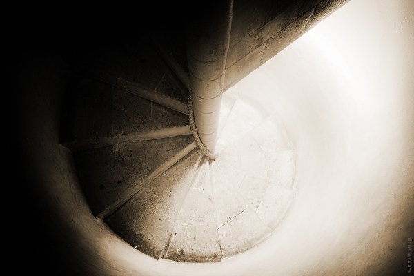 A narrow spiral staircase in Norwich Cathedral
