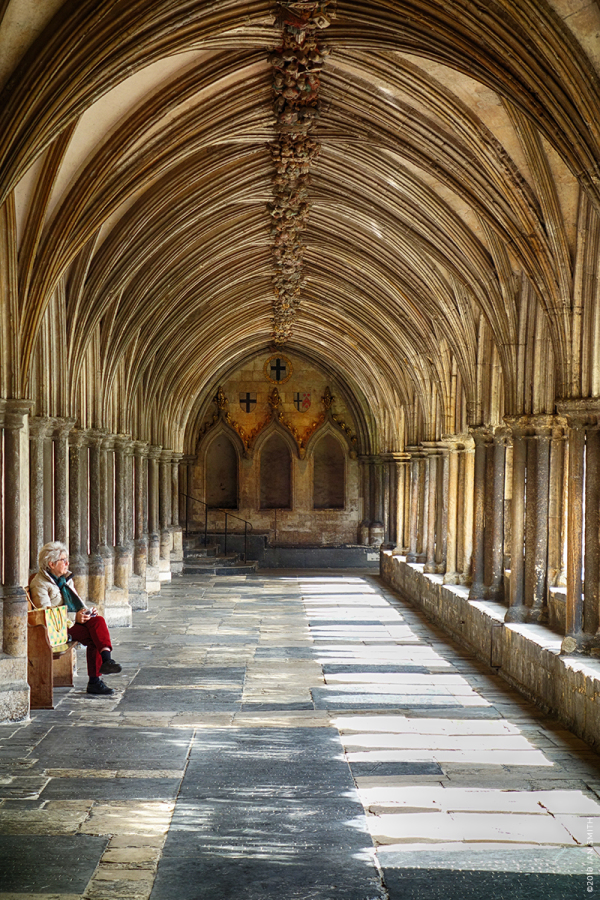 Woman eating lunch in Norwich Cathedral cloisters