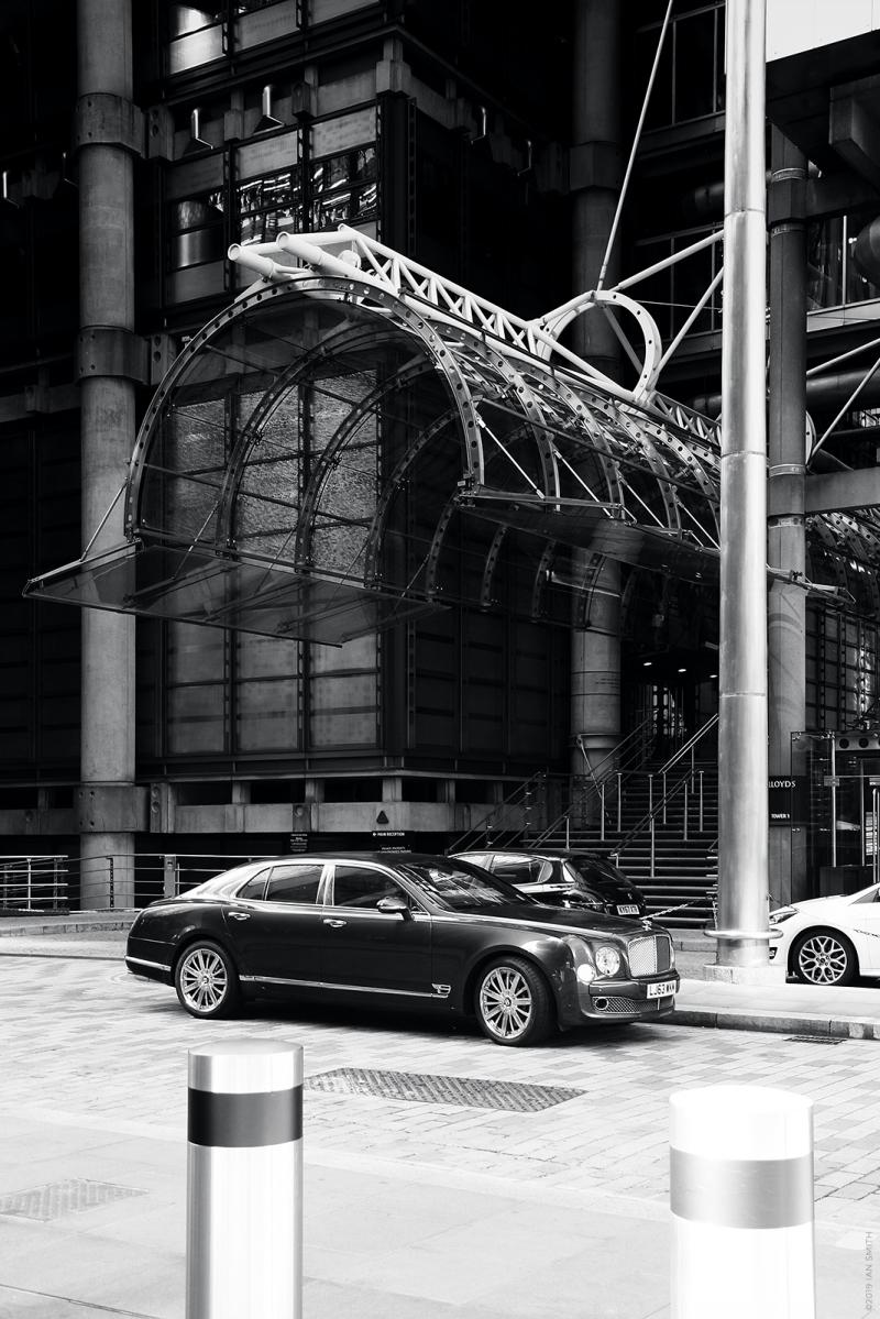 Bentley outside Lloyds building, London