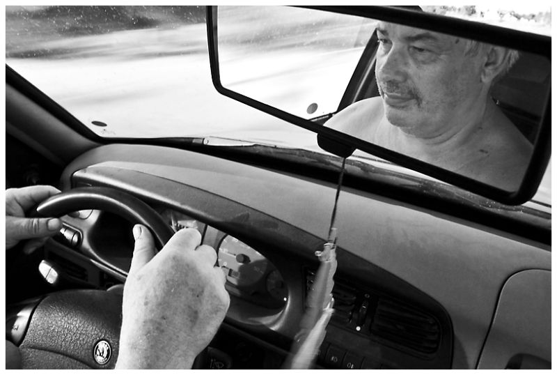 driver, mirror, reflection, car, wheel