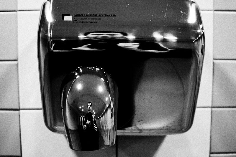hand, dryer, reflection, self, portrait