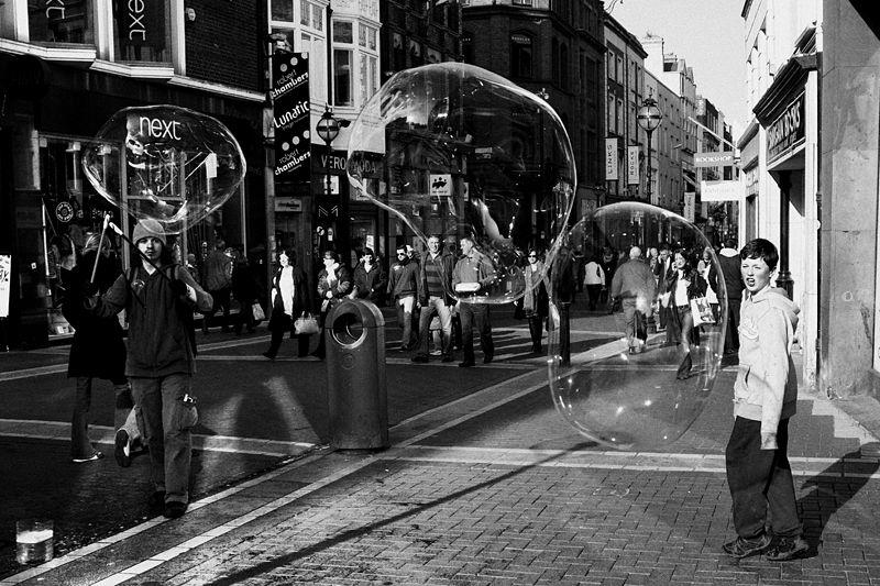 dublin, ireland, street, soap, bubbles