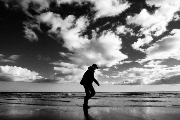 ireland, beach, man, walk, sky