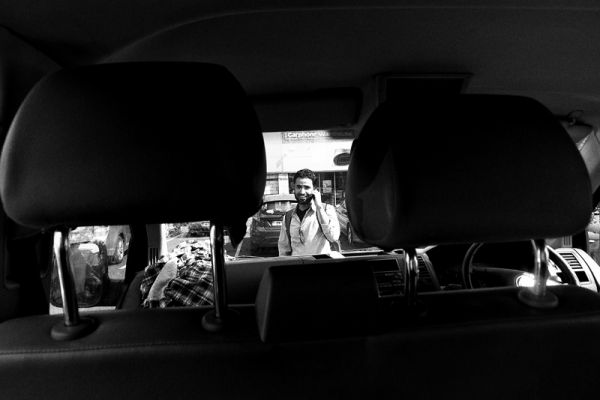 man, phone, car, portrait