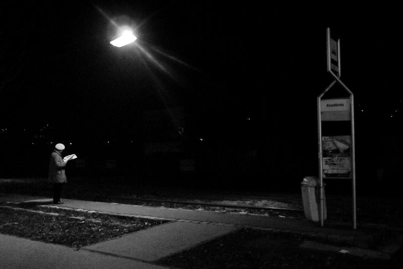 budapest, night, street, light, old, lady