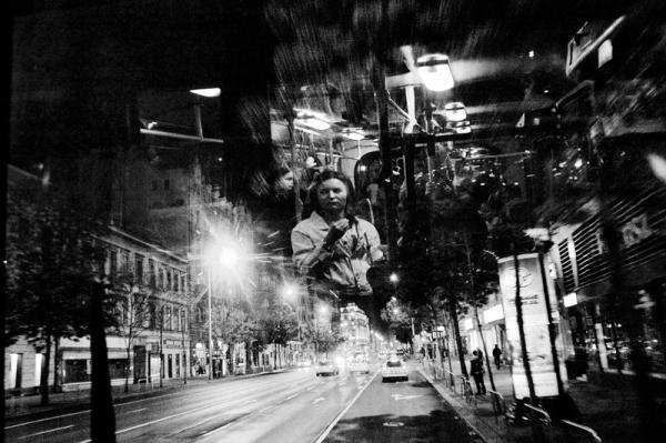 budapest, night, bus, reflection, woman