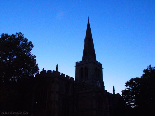 bedford church at night