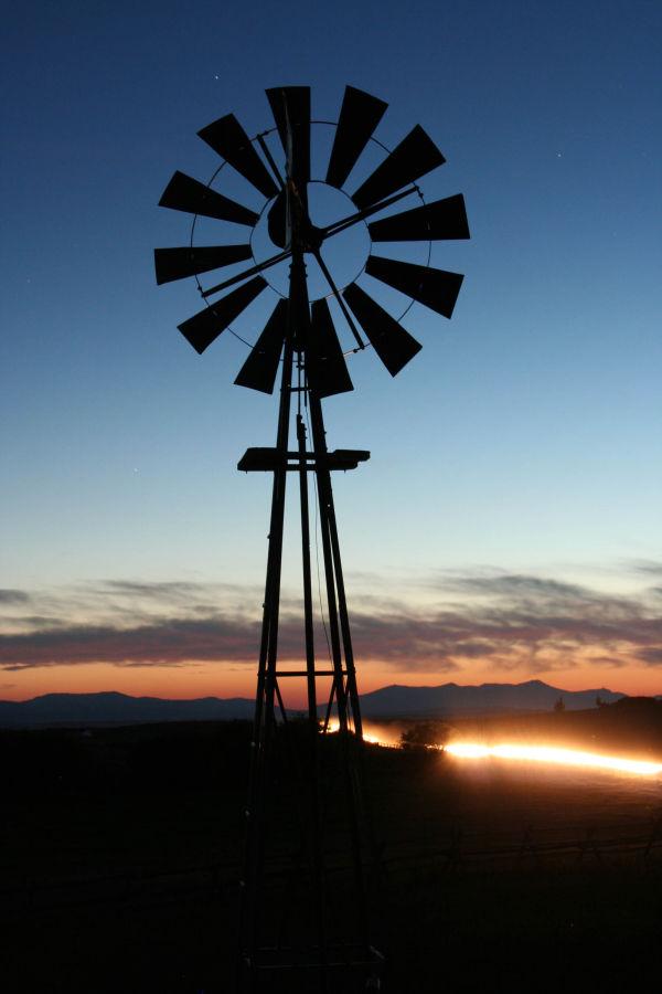 Wyoming windmill at night