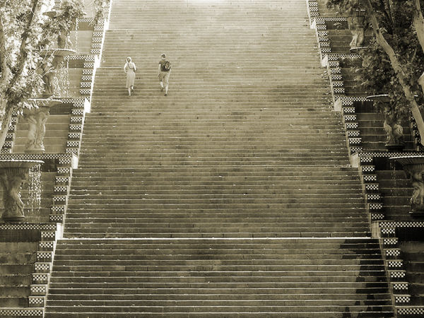 a couple walking the stairs