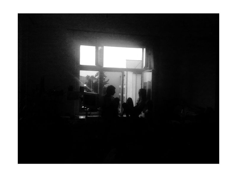 Silhouette of a couple at the window