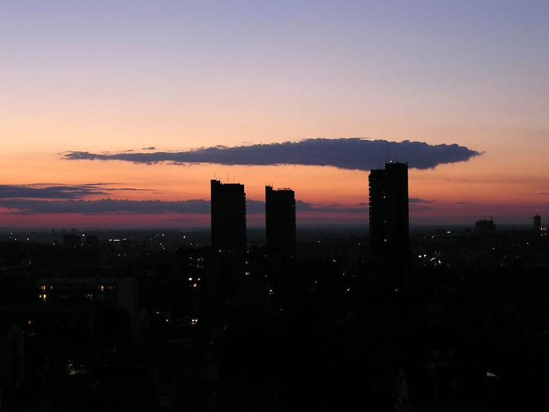 Belgrade cityscape in sunset from Vozdovac