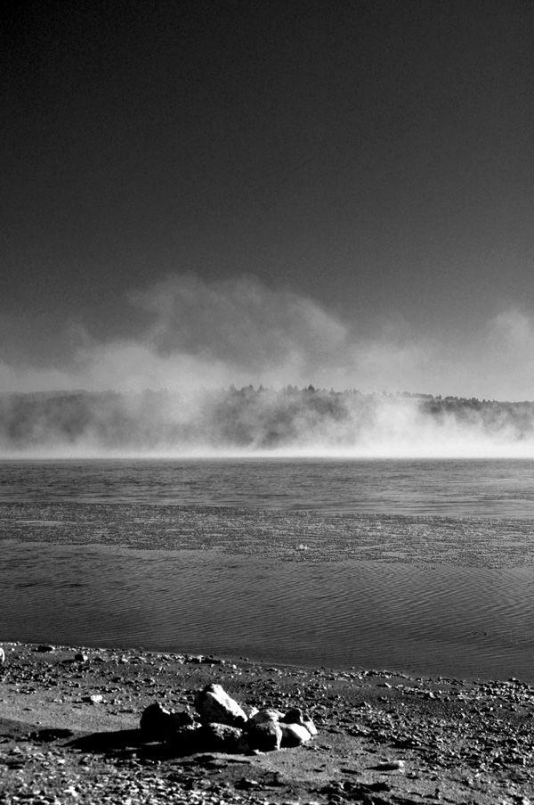 lake black and white